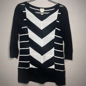 CHICOS 3/4 sleeve striped top size 0 (S/4)